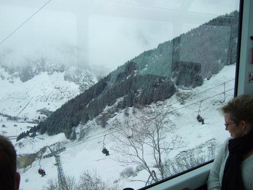 Ski Lift going over the train.